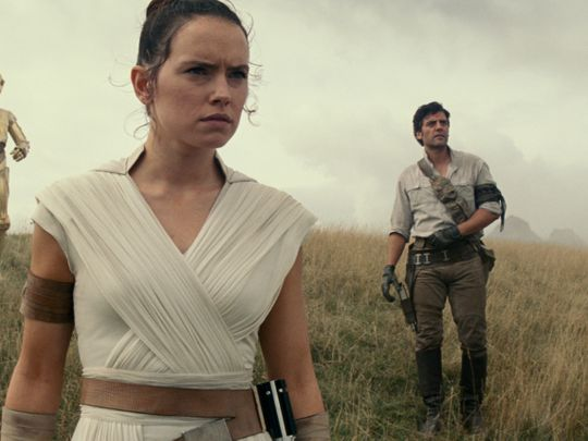 MAIN PIC (Left to right( Chewbacca (Joonas Suotamo), BB-8, D-O, Rey (Daisy Ridley), Poe Dameron (Oscar Isaac) and Finn (John Boyega)-1576330124569