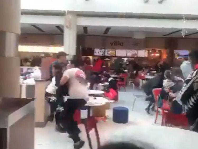 Screen grab of chaos at Atlanta mall video
