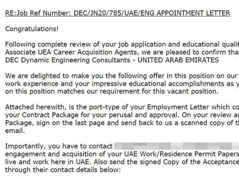 Fake job alert