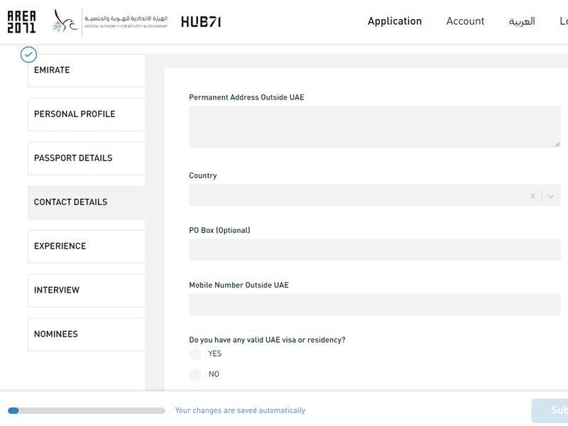 Golden visa process enter personal details 6