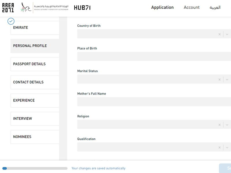Golden visa process enter personal details 3