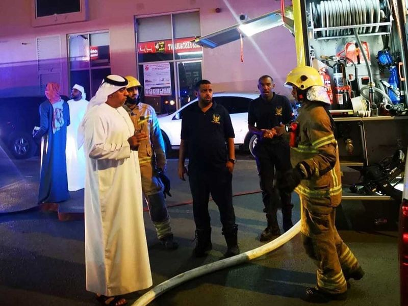 Firefighters at residential bu8ilding in Fujairah