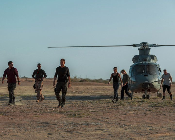 Full cast of 6Underground in Abu Dhabi (Left to Right) MANUEL GARCIA-RULFO [THREE], COREY HAWKINS [SEVEN], RYAN REYNOLDS [ONE], ADRIA ARJONA [FIVE], MÉLANIE LAURENT [TWO], and BEN HARDY [FOUR] A-1576668209158