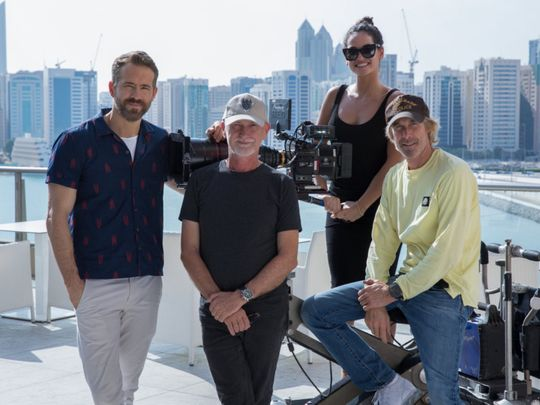 Left to right Ryan Reynolds (actor), Ian Bryce (producer), Adria Arjona (actress), Michael Bay (director) AA-1576668211601