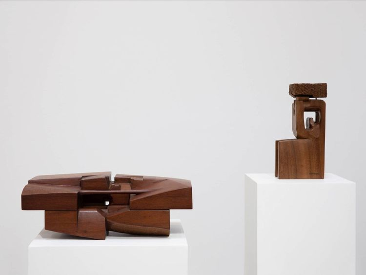 WKR 191219 Chaouki Choukini - horizontal work is Lieu, 1992 in green ebony; vertical work - Ramses, 1981 - Iroko wood.-1576927041185