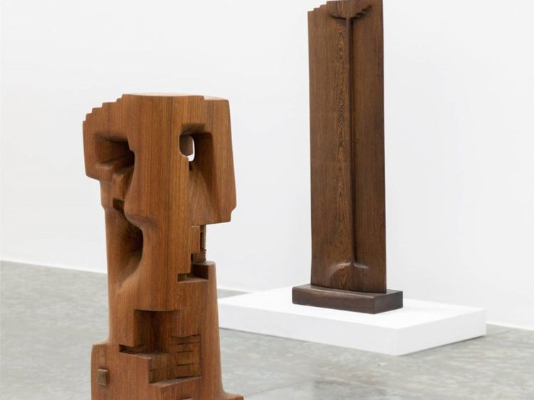 WKR 191219 Choukini's works In Roi 1995 in Wangue wood. In the foreground - Tour, 2019 Iroko wood.-1576927043251