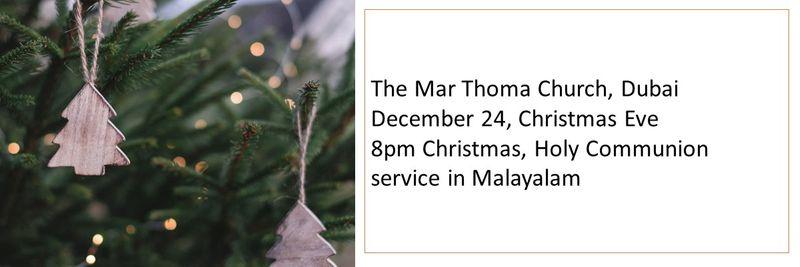 The Mar Thoma Church, Dubai Christmas service timings