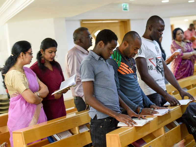 Anglican service in progress at the Holy Trinity Church in Dubai as they celebrate Christmas.