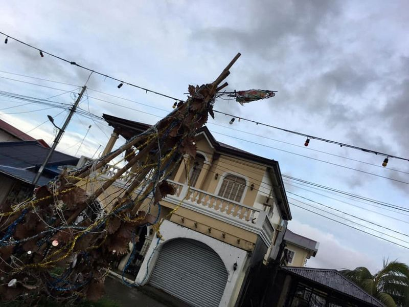 Destroyed Christmas decorations are seen after Typhoon Phanfone swept through Tanauan, Leyte, in the Philippines.