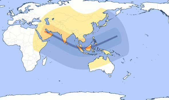 Path of annular eclipse 2019