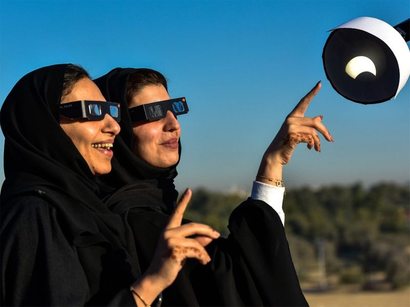People at Al Thuraya Atronomy Centre for Solar eclipse