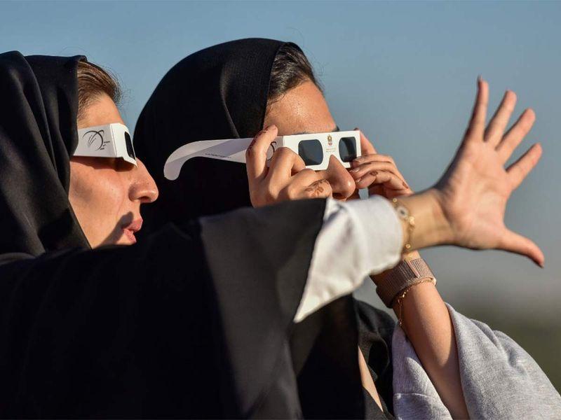 Solar eclipse at Al Thuraya Atronomy Centre in Dubai