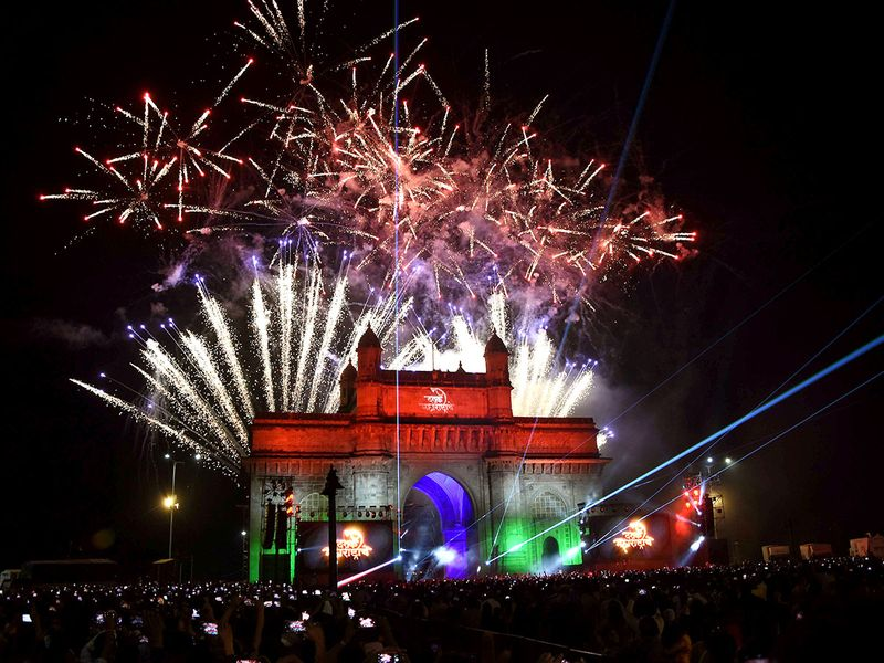 Fireworks are seen over the Gateway of India on the occasion of New Year 2020, in Mumbai, India.