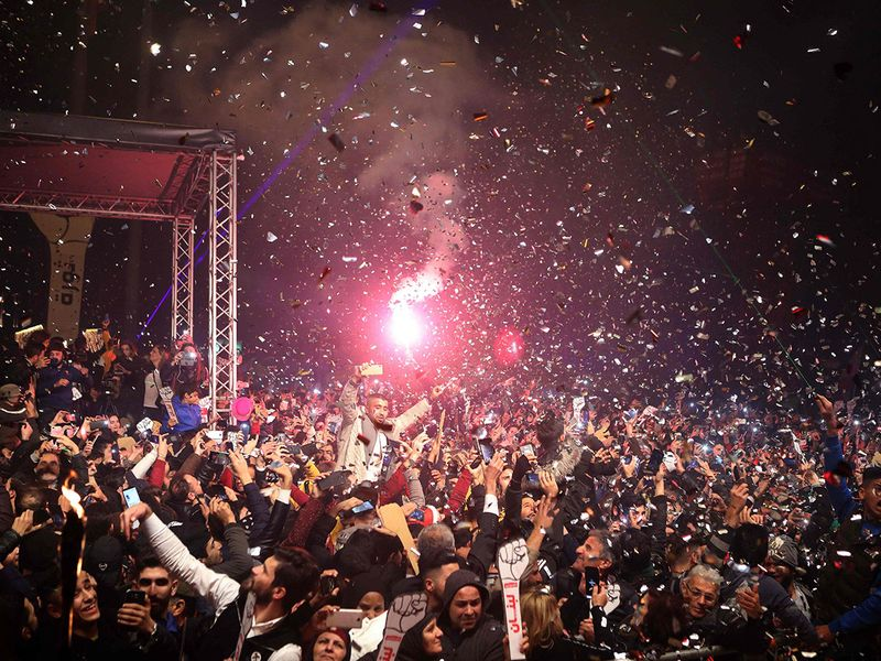 Lebanese ant-corruption celebrate New Year's eve in Beirut Martyr's Square.