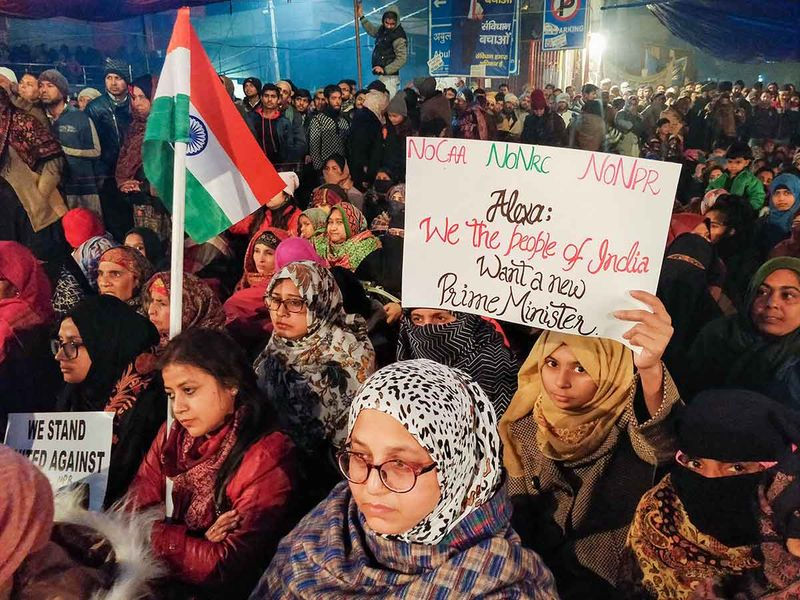 Protesters gather at Shaheen Bagh to oppose the amended Citizenship Act, in New Delhi, Tuesday, Dec. 31, 2019.