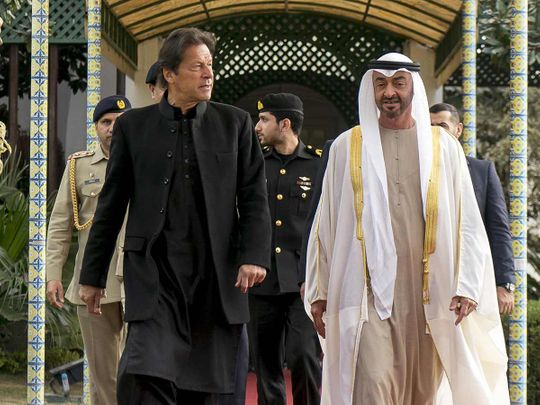 Sheikh Mohamed Bin Zayed is received by Prime Minister Imran Khan