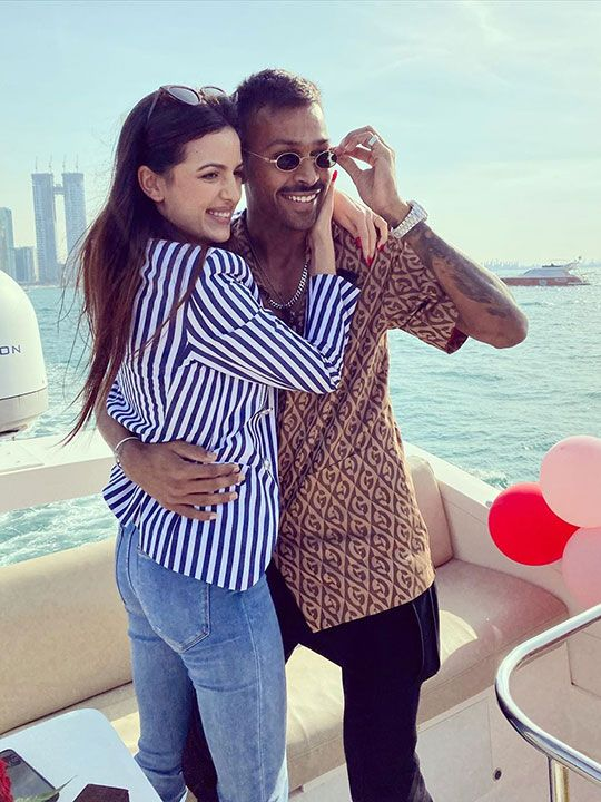 Hardik Pandya with fiancée Serbian actress Natasa Stankovic