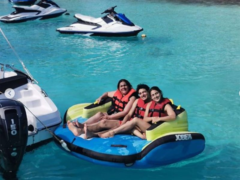 Sara and Ibrahim along with their mother Amrita Singh are on a vacation in Maldives, and they welcomed 2020 with a splash.