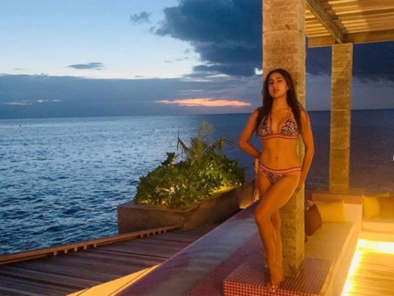 She looked stunning in printed two-piece bikini.