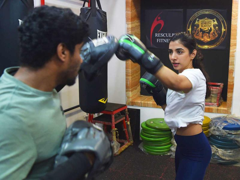 Actress Malhaar Rathod trains in a kickboxing session