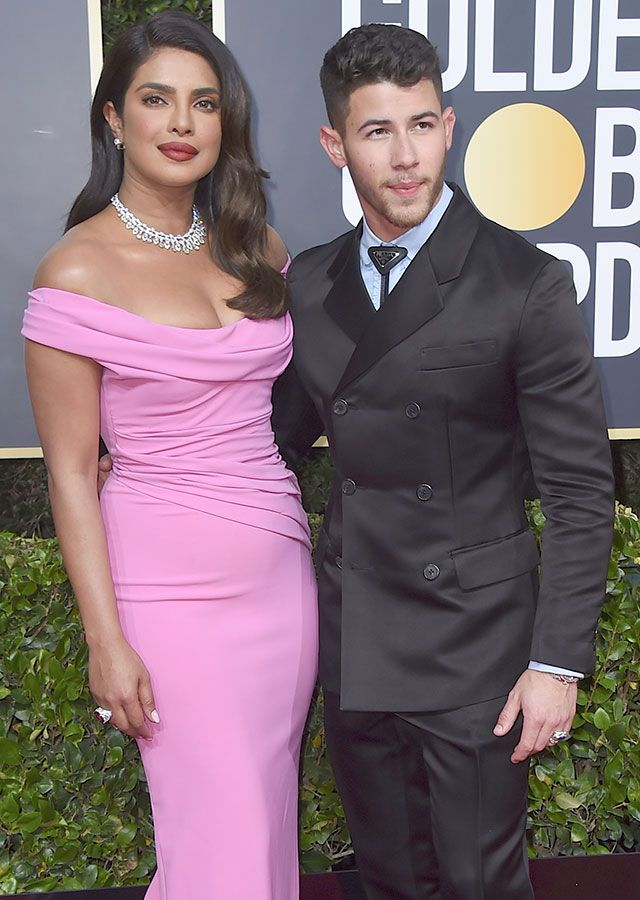 Priyanka Chopra Jonas and Nick Jonas attend the 77th Annual Golden Globe Awards at The Beverly Hilton Hotel in Beverly Hills, California