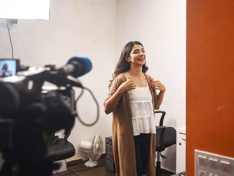 This photo taken on December 17, 2019 shows aspiring actress Malhaar Rathod at a studio in Mumbai.