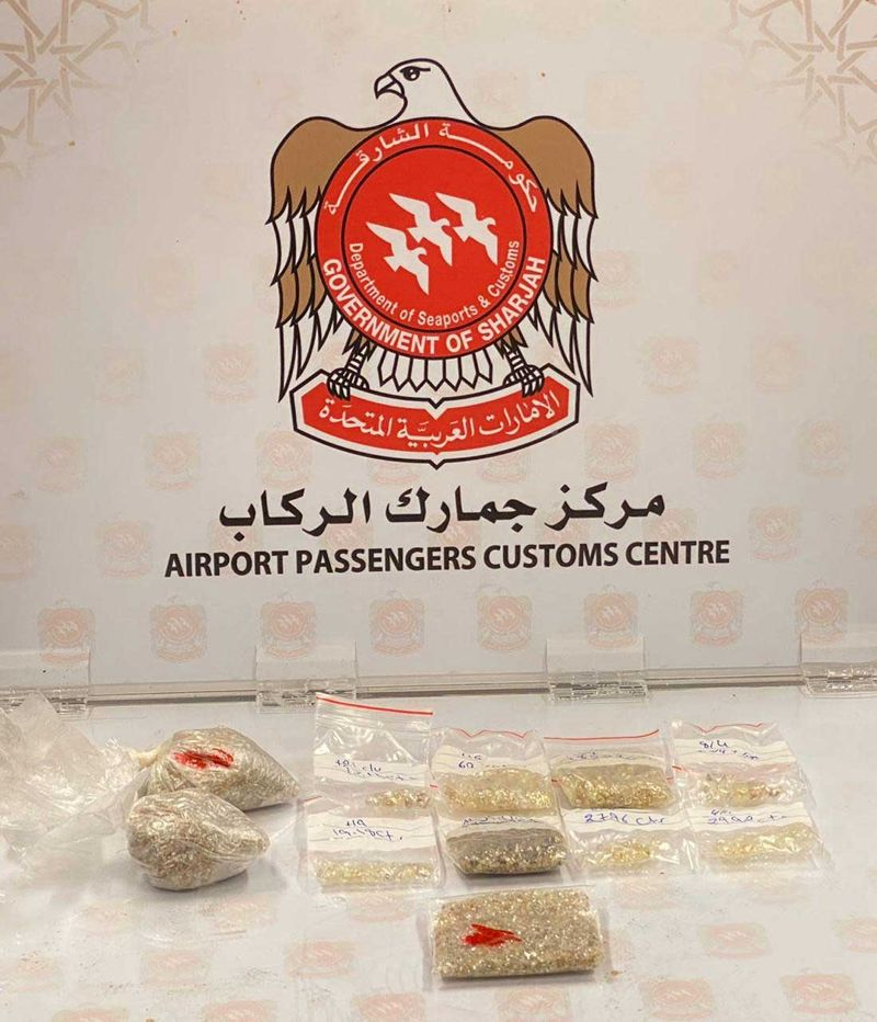 Confiscated raw diamonds at Sharjah International Airport