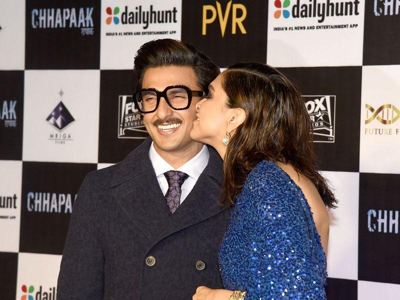 Deepika Padukone kisses her actor husband Ranveer Singh