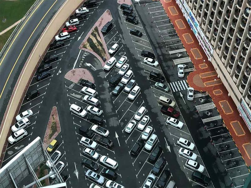 Aerial view of a parking lot in Dubai after the rains