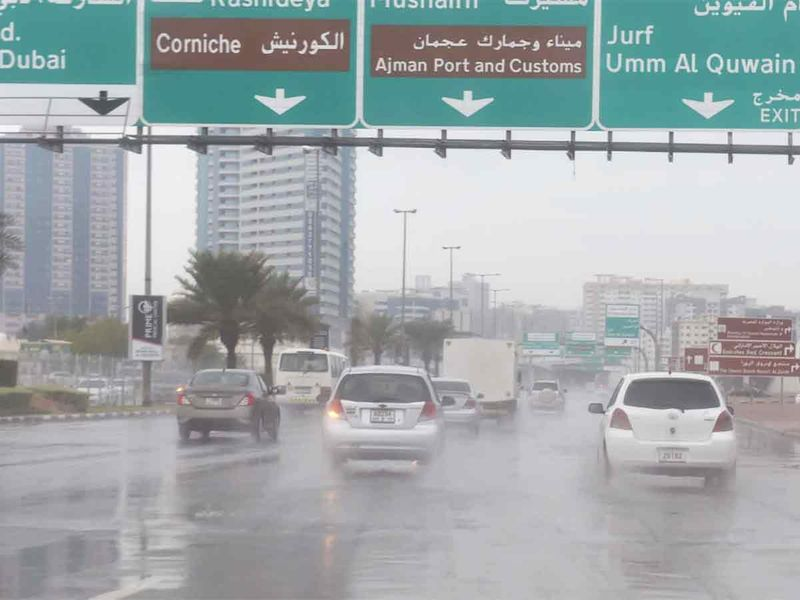 Rain in Ajman on January 10, 2020