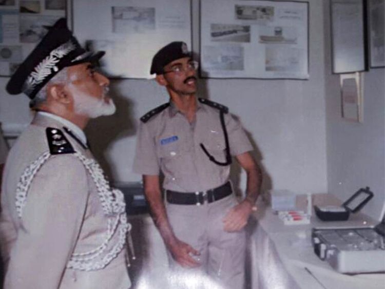 An old picture of Sultan Qaboos with retired Lieutenant Colonel Abdullah Hussain Bin Saif.
