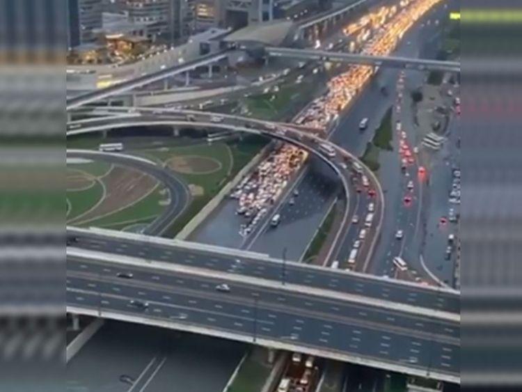 Vehicles stalled Dubai