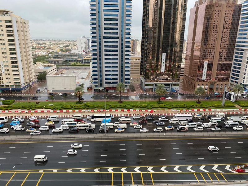 flooded streets Dubai Sharjah