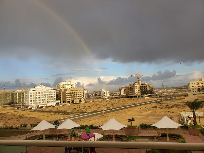A rainbow seen across Warsan, Dubai this morning.