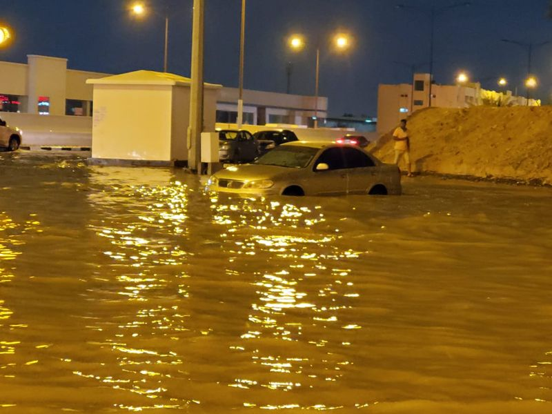 Car flooded in, Sharjah last night.