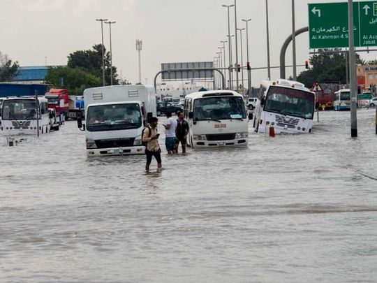 Stranded vehicles in a flooded road in Al Quoz.