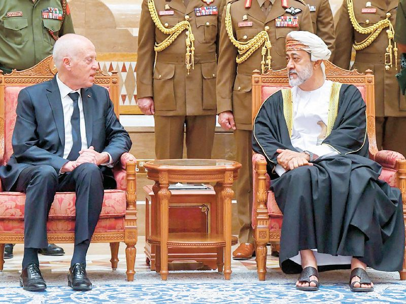 Sultan Haitham with Tunisian President Qais Saeed