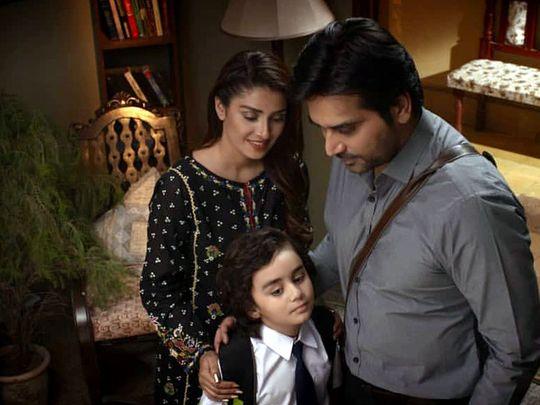 Ayeza Khan, Humayun Saeed, and childstar Shees Sajji Gul aka Rumi in a still from MERAY PAAS TUM HO-1578896971637