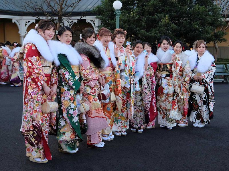 Twenty-year-old women draped in traditional kimonos