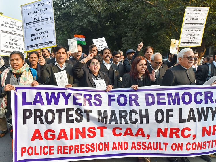 Advocates of Lawyers For Democracy stage a protest outside the Supreme Court