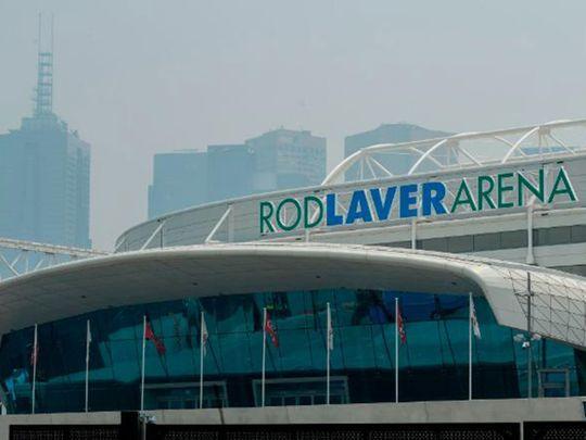 Smoke surrounds the Rod Laver Arena in Melbourne.
