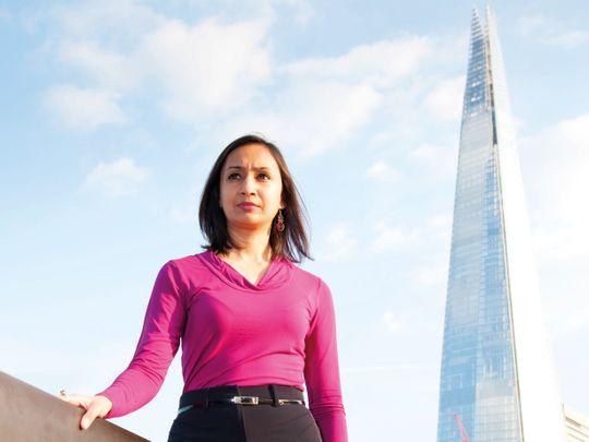 Roma Agarwal beside the Shard in London