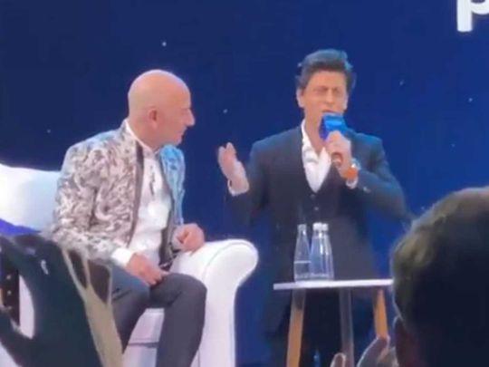 Shah Rukh Khan with Amazon CEO Jeff Bezos