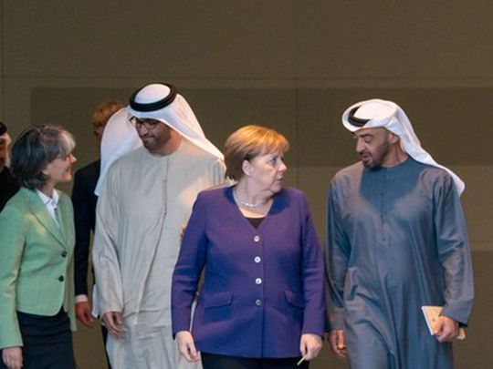 Sheikh Mohammed Bin Zayed with Angela Merkel