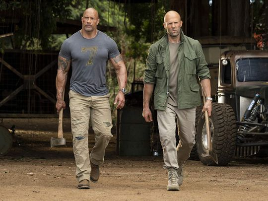 Jason Statham and Dwayne Johnson in Fast & Furious Presents Hobbs & Shaw (2019)-1579442998034