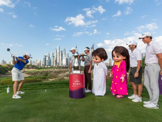 Expo 2020 mascots get in the swing at Omega Dubai Desert Classic