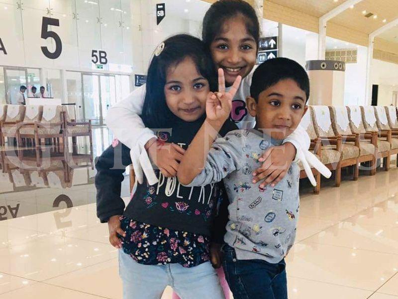Praveen Nair's three children Sreebhadra, 9 years, Aarcha, 8 years and Abhinav, 7 years