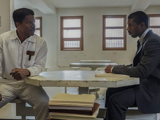 Jamie Foxx and Michael B. Jordan in Just Mercy (2019)1-1579670456480
