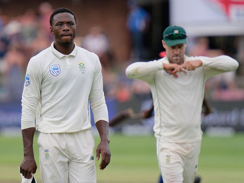 Kagiso Rabada, left, and Faf du Plessis