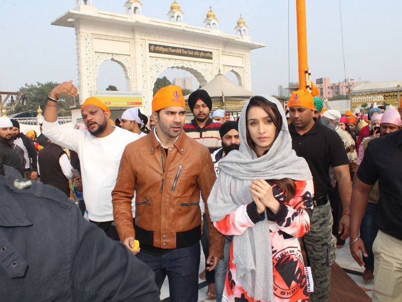Varun Dhawan and Shraddha Kapoor during their visit to the Bangla Sahib Gurudwara in New Delhi